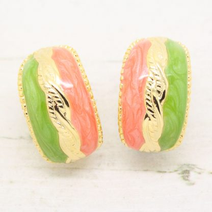 1980s Vintage Lime Green and Peach Enamel Clip On Earrings