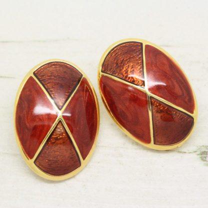 1980s Vintage Brown Enamel Large Oval Clip On Earrings