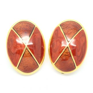 1980s Vintage Brown Enamel Large Oval Clip On Earrings