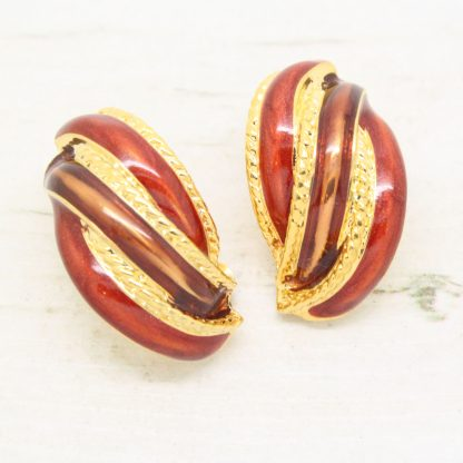 1980s Vintage Demi-Hoop Brown Enamel Clip On Earrings