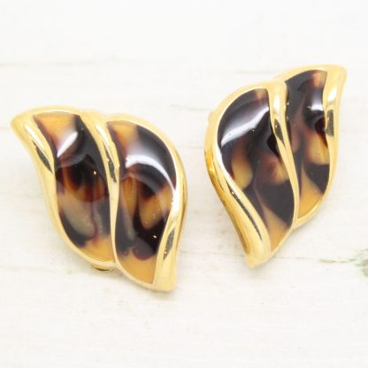 1980s Vintage Faux Tortoiseshell Enamel Clip On Earrings
