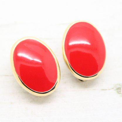 1980s Vintage Red Enamel Oval Clip On Earrings