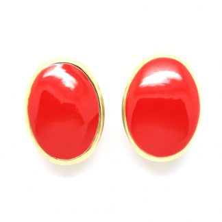 1980s Vintage Red Enamel Oval Clip On Earrings
