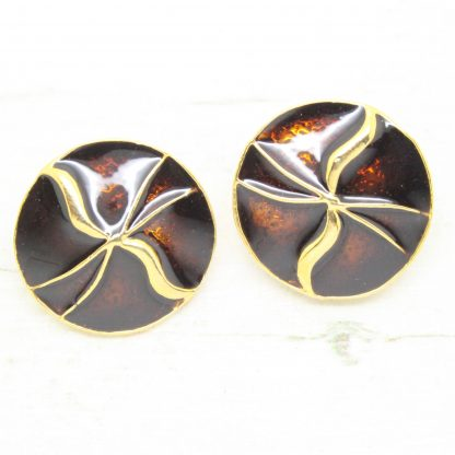 1980s Vintage Dark Brown Enamel Circle Round Clip On Earrings