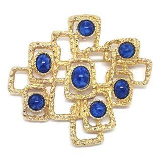 Sarah Coventry Lapis Lazuli Textured Modernist Brooch