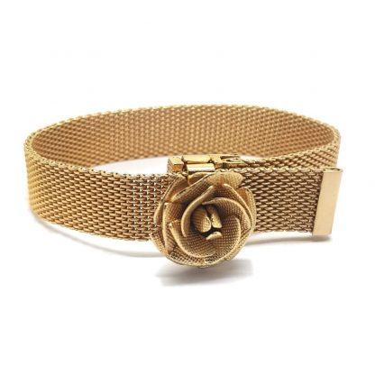 Vintage Sarah Coventry Golden Rose Watchband Bracelet