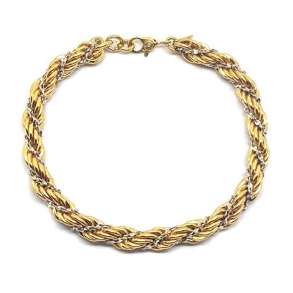 1980s Vintage Signed Monet Gold Woven Rope Twist Bracelet