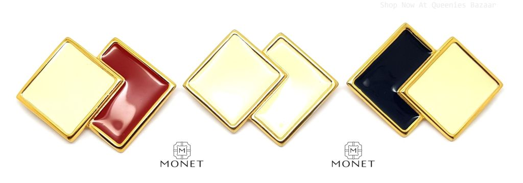 Vintage Signed Monet Square Enamel Brooches