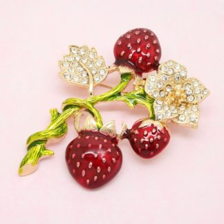 Large Strawberry Enamel and Crystal Brooch