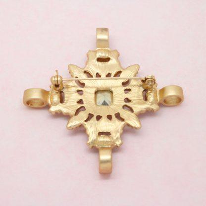 Beautiful Ornate Maltese Cross Crystal Brooch