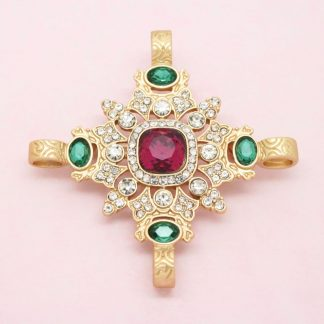 Beautiful Ornate Maltese Cross Crystal Brooch