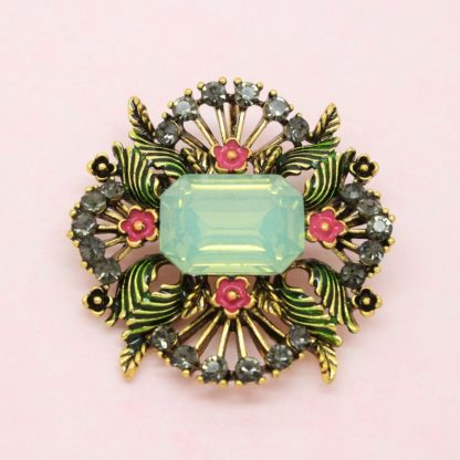 Decorative Floral Enamel and Crystal Brooch