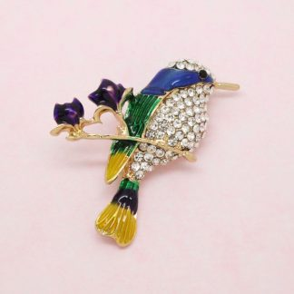 Beautiful Crystal and Enamel Bird Brooch