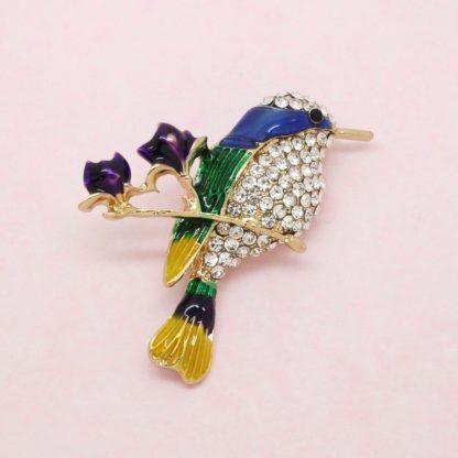 Beautiful Crystal and Enamel Bird Brooch