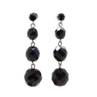 Vintage Austrian Faceted Black Glass Drop Earrings