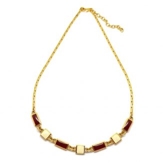 Vintage Monet Red and Cream Enamel Link Necklace