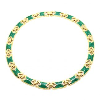 Vintage 1980s Green Enamel Gold Plated Necklace