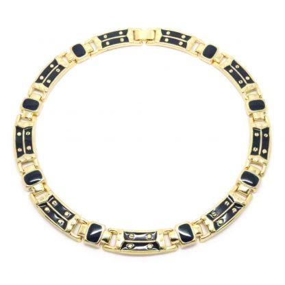 1980s Vintage Navy Blue Enamel Panel Link Necklace