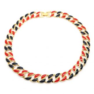 1980s Vintage Red and Blue Enamel Curb Link Necklace