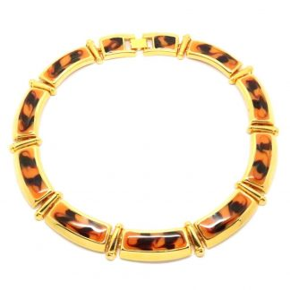 Statement 1980s Vintage Enamel and Gold Plated Collar Necklace