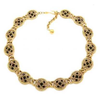 Vintage Signed Napier Black Rhinestone Necklace