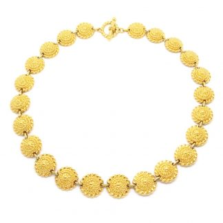 Vintage T Bar Circle Link Gold Plated Necklace