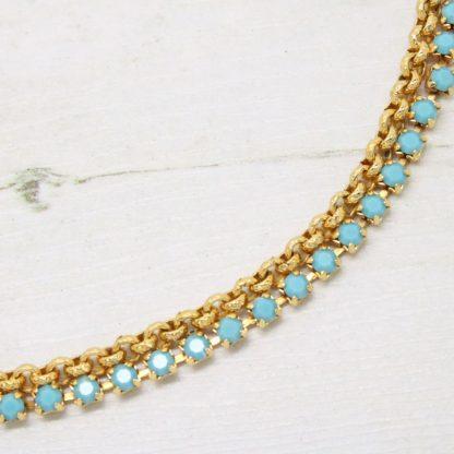 1970s Vintage Faux Turquoise Rhinestone Necklace