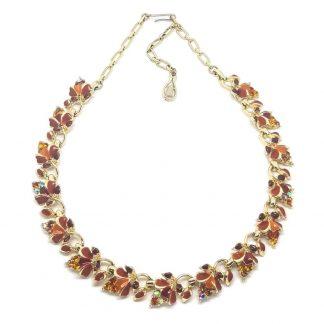 Stunning Vintage Autumnal Rhinestone and Enamel Necklace