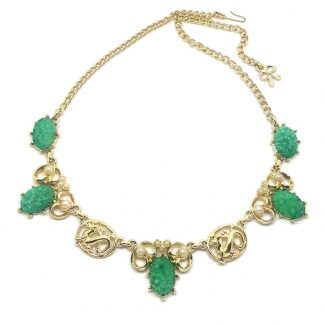Stunning Signed 'Exquisite' Faux Jade and Seed Pearl Necklace