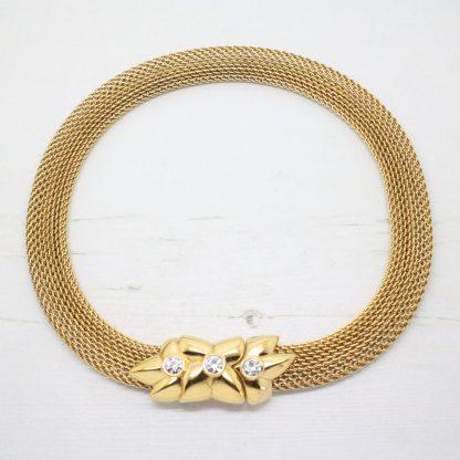 Vintage Monet Swarovski Crystal Mesh Collar Necklace
