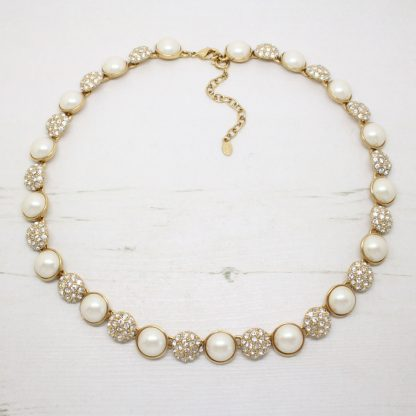 Vintage Monet Gold Plated White Diamante Pearl Necklace