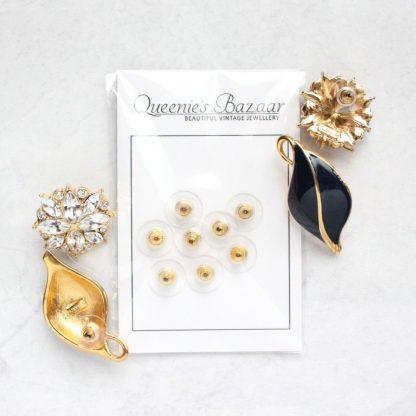 Slide On Disc Gold Plated Earring Backs (For Pierced Earrings)