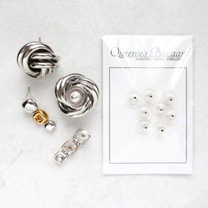 Slide On Disc Silver Plated Earring Backs (For Pierced Earrings)