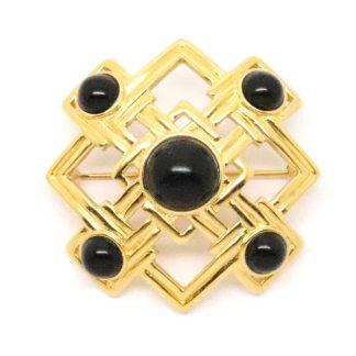 1980s Vintage Monet Black Cabochon Maltese Cross Brooch
