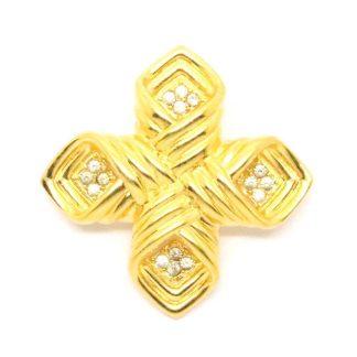Vintage Joan Rivers Gold Plated Maltese Cross Brooch