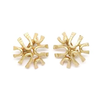 1970s Vintage Sarah Coventry Gold Sea Sprite Clip-On Earrings