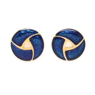 Vintage Blue Enamel Gold Plated Round Earrings
