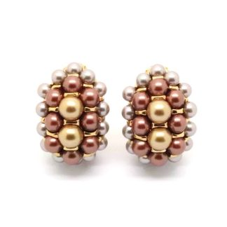 Vintage Joan Rivers Faux Pearl and Crystal Clip-On Earrings